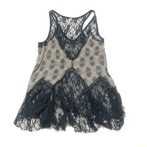 🦈 Free People cotton lace blue top SP